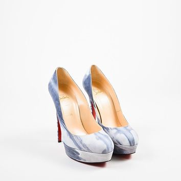 PEAP Christian Louboutin Grey and White Suede 140mm   Bianca Woodstock   Pumps