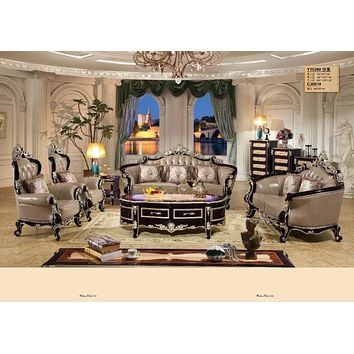 Luxury Home Furniture Sofa Set Living Room With Solid Rubber Carving French Style