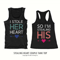 Cute Matching I Stole Her Heart So I'm Stealing His Couples Tank Tops