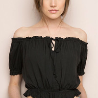 Black Short Sleeve Off The Shoulder Tassel-Tie Chiffon Crop Top