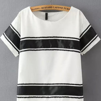 White Striped Short Sleeve Cropped T-Shirt