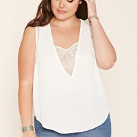 Plus Size Lace-Paneled Top