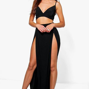 Paige Slinky Bralet And Split Maxi Skirt Co-Ord | Boohoo