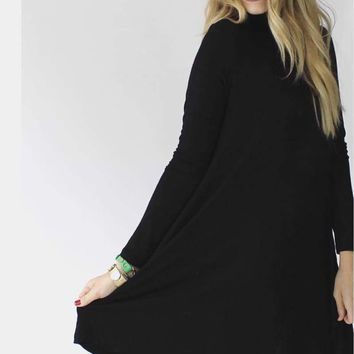 West Indies Long Sleeve Mock Neck Dress