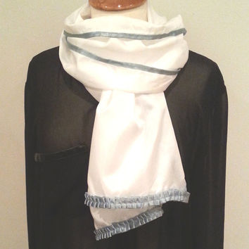 White scarf silk-like, green pink purple ribbon, womans white scarf sale, womens white scarfs, white scarves, euro chic gift idea for her