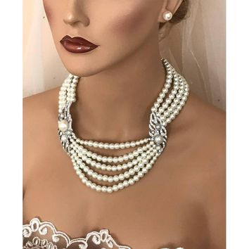 Victorian Ivory Multi Layer Pearl Bridal Jewelry Set