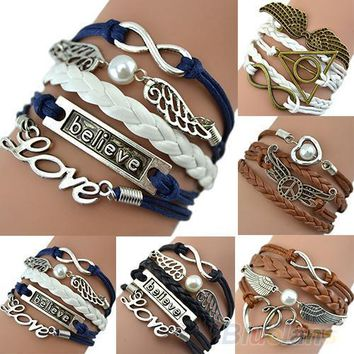 Angel Wings Multi Layered Wrap Bracelet Inspirational Jewelry