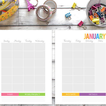Printable Calendar ANY YEAR, Family binder calendar, Family planner, Full Sheets 8.5 x 11, Daily Planner Inserts, Digital, Two Page Monthly