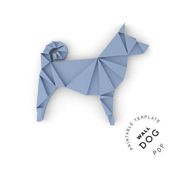 Printable DIY template (PDF).  Wall Dog low poly paper model. 3D paper puzzle. Animal paper sculpture. Origami.