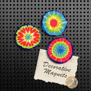"Tye Dye Magnets, Retro Gift Set, 1.5"" Fridge Magnet, Set of 3 Handmade Wood Refrigerator Magnets, Kitchen Decor, 70's Hippie Magnets"