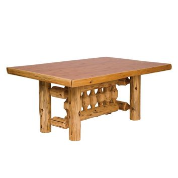 Cedar Log Rectangular Dining Table 5' with Standard Finish
