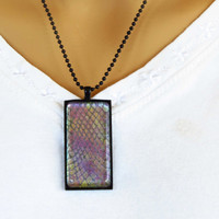 Snake Skin  Dragon Jewelry Pendant Necklace     Multi colored  hand painted gift idea