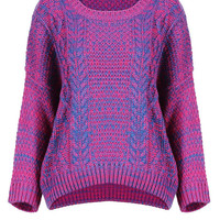 Purple Jumper with Dropped Shoulder Seams