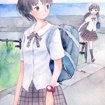 "Original Watercolor Painting  5x7 ""いっしょに帰ろう""  Let's go home together - Original picture,girl illustration,city illustration,schoolgirl"