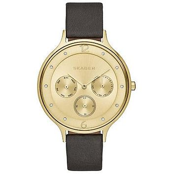 Skagen Ladies Anita Calendar Watch - Gold-Tone - Black Leather Strap
