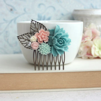 Turquoise Blue Rose, Mint Blue Mum, Pink Sakura Flower, Ivory Flower, Leaf Comb, Flower Hair Piece, Maid Of Honor, Bridesmaids Gift, Rustic