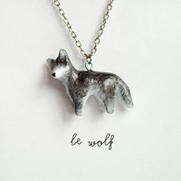 Wolf Necklace Le Brave Wolf Totem OOAK Tiny Animal? by leanimale