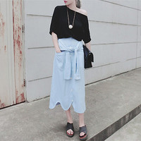 midi skirt/midi skirts/womens midi skirts/full midi skirt/black midi skirt/high waisted midi skirt/midi skirt with pockets/light blue skirt