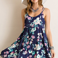Floral Sundress - Navy