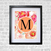 Monogram Nursery Art Letter M Digital Print Wall Art Print 8 x 10 INSTANT DOWNLOAD Nursery Decor  Wedding Monogram Watercolor Flowers Boho