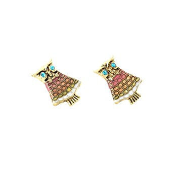 Owl Stud Earrings Crystal Vintage Gold Tone Bird Posts EI23 Fashion Jewelry
