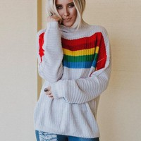 Once Upon A Rainbow Striped Sweater - Gray