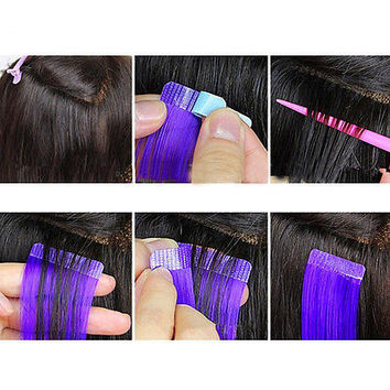 12Tabs PrecutSuper Double Sided Tape Weft Tape-in Hair Extension Replacement HU
