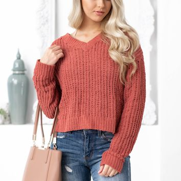Knitted Brick Red Crop Top Sweater