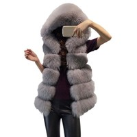 WEIXINBUY Women Hooded Fur Vest Coat Winter Female Thick Warm Faux Fur Vest High Imitation Fur Jackets White Grey Outerwear
