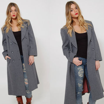 Vintage 70s PENDLETON Coat Gray Wool Overcoat Minimalist Trench Coat Winter Midi Coat DOUBLE BREASTED Jacket