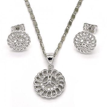 Rhodium Plated 10.156.0123 Earring and Pendant Adult Set, with White Micro Pave, Polished Finish, Rhodium Tone