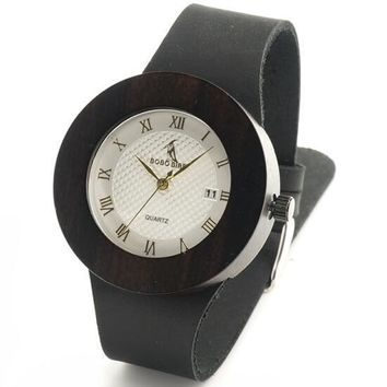 Black Wooden Watch Soft Leather Strap Metal Scale Face Analog Calendar Quality