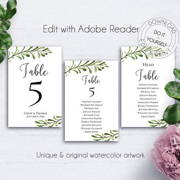 Rustic Reception Table Numbers, Wedding, Customize, Editable, Green Leaves, Ceremony, Printable Numbers, Number Template, Table Ideas