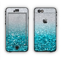 The Turquoise & Silver Glimmer Fade Apple iPhone 6 LifeProof Nuud Case Skin Set
