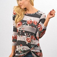 Floral and Stripes Twist Top - Gray