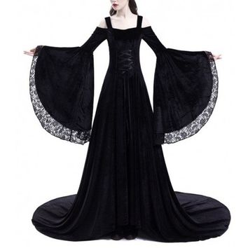 Women Retro Robe Vintage Dress Long Flare Sleeve Renaissance Gothic Costume Medieval Gown Long Punk Dress