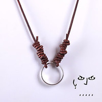 Stainless Steel Ring Pendant with Necklace