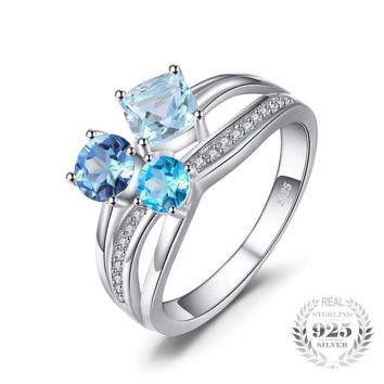 London Blue Topaz 3 Multi color Gemstones Ring 925 Sterling Silver