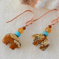 Bear earrings, jasper earrings, picture jasper, spirit bear earrings, carnelian dangles, earthy jewelry, fetish dangles, Native American