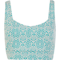Aqua jacquard crop top  - tops - sale - women