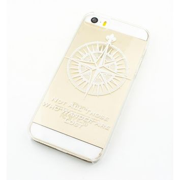 Not All Those Who Wander Are Lost / Compass - Clear TPU Case Cover Phone Case