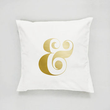 Ampersand Sign Pillow, Typography Pillow, Home Decor, Cushion Cover, Throw Pillow, Bedroom Decor, Bed Pillow, Gold Pillow, Decorative Pillow