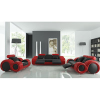 TOSH Furniture Modern Franco 3 Piece Leather Sofa Set