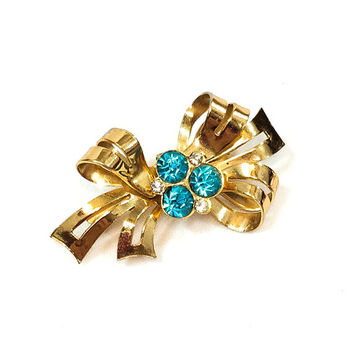 Small Goldtone Ribbon Brooch Pin, Aqua Teal Rhinestones, Signed Coro, Hair Accessory, 1950s Costume Vintage Jewelry