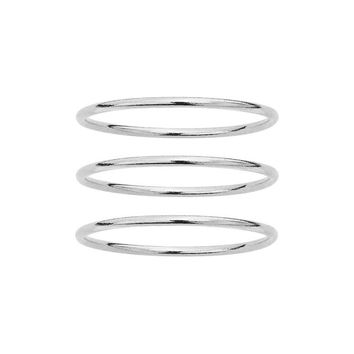Triple Set Sterling Silver Plain Smooth Band Rings