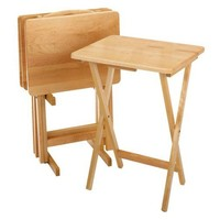 Set of 4 - Folding TV Table Tray Set with Stand in Natural Wood Finish
