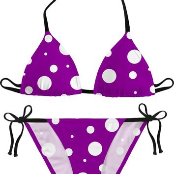 Asymetric purple and white polka dots themed bikini set, dotted girls swim suit, retro style design
