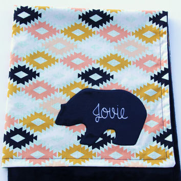 Agave Field Blanket, Monogrammed Bear Baby Blanket, Aztec Baby Blanket, Art Gallery Fabrics, Arizona Collection