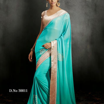 Gorgeous Mint Colored Designer Chiffon Saree D-30011