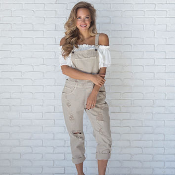 Superstition Denim Distressed Overalls In Taupe